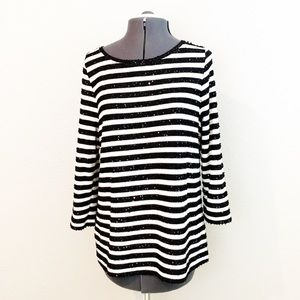 Talbots black and white striped sweater large